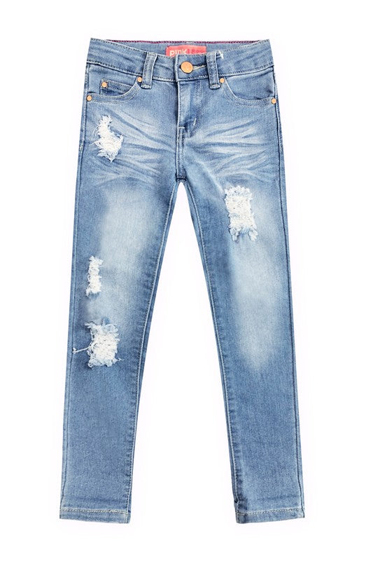 Tweens distressed Light Wash Skinny Jeans