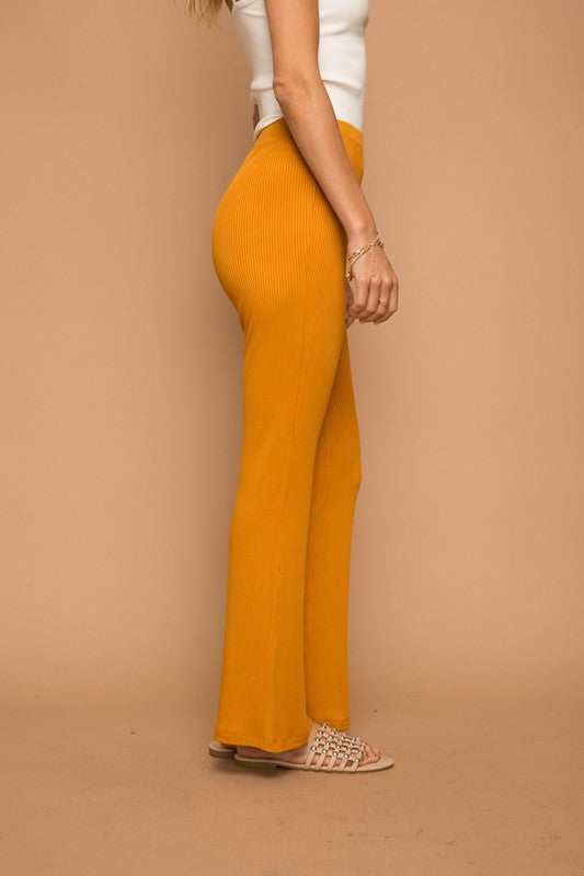 SOFT RIBBED KNIT FLAIR COMFY LOUNGE TROUSERS