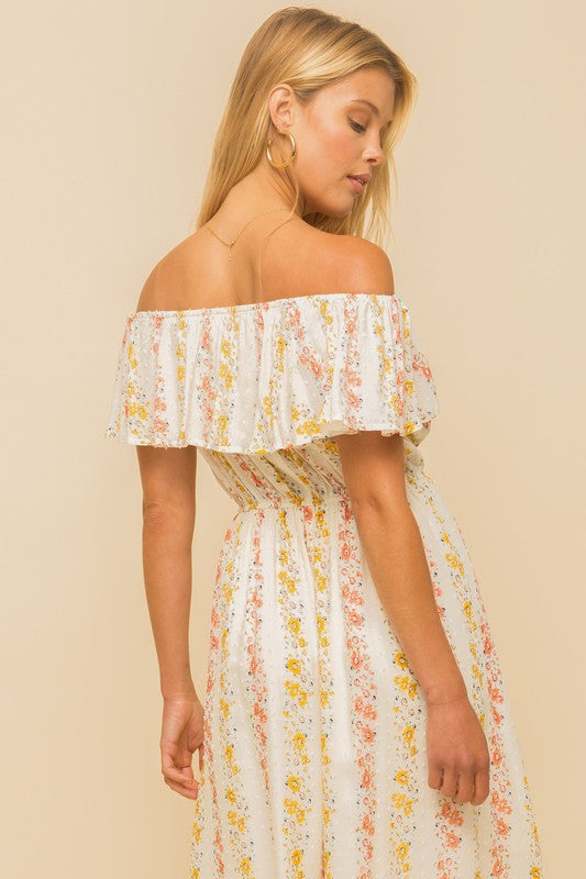 SWISS DOT FLORAL OFF THE SHOULDER RUFFLE DRESS