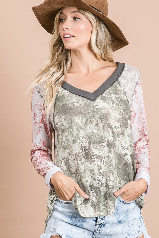 Olive Multi Print Contrast Sleeves V Neck Top