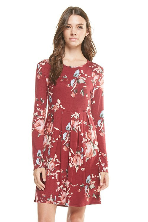 -Burgundy Floral Print Long Sleeve Dress
