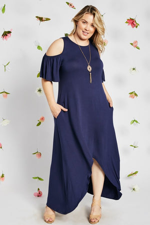 Navy Cold Shoulder High-Low Maxi