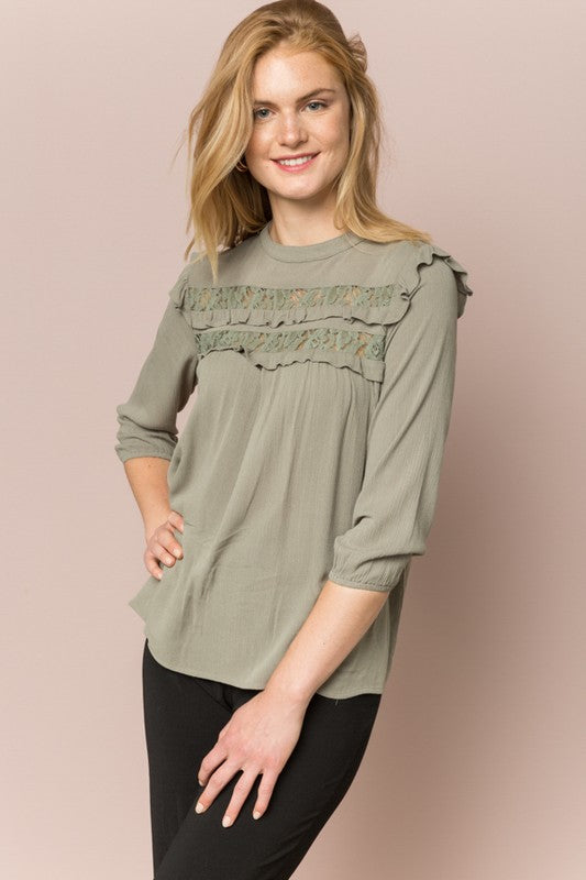 Olive Ruffled Lace Peasant Top