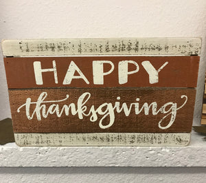 Happy Thanksgiving Slat Box Sign