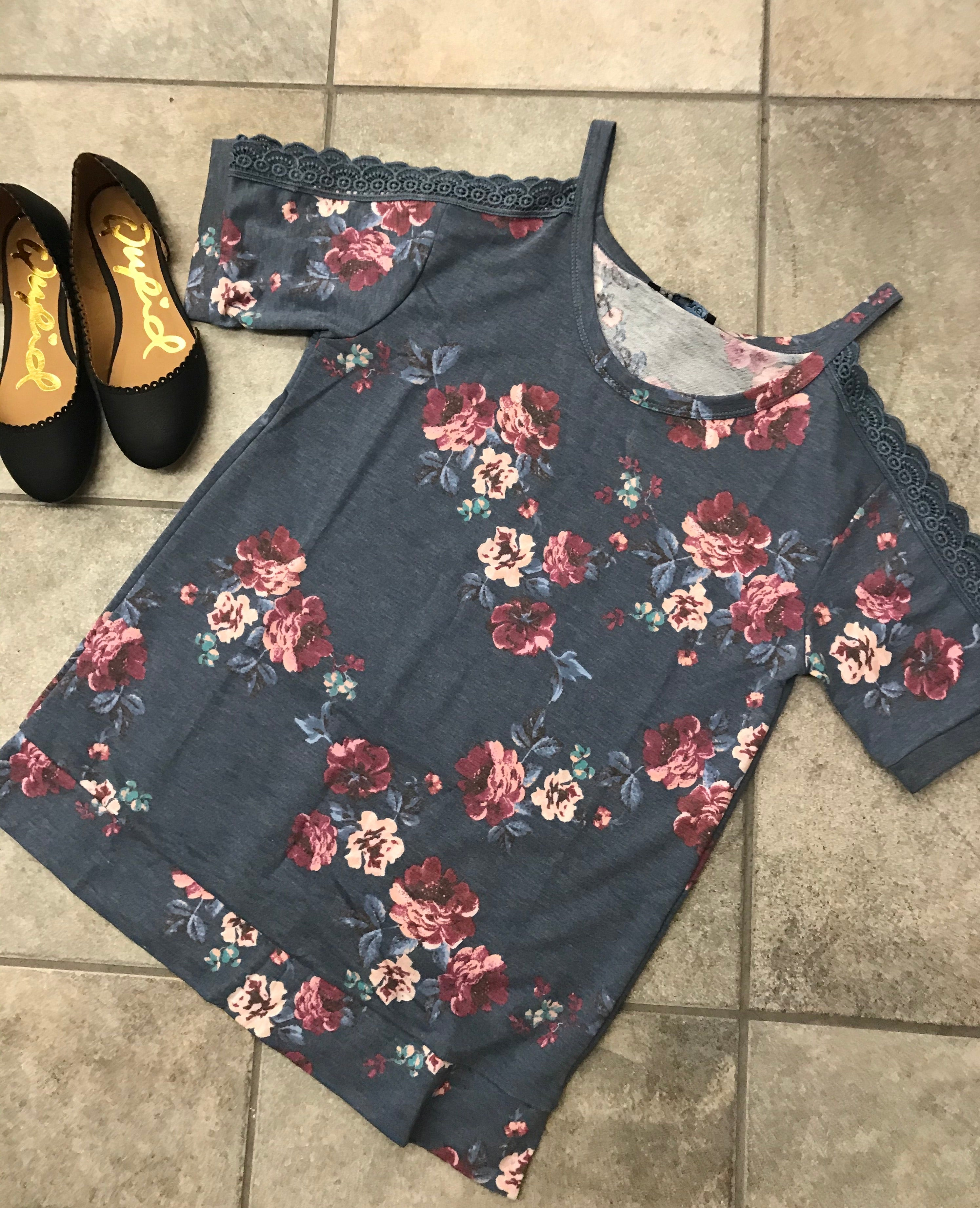 Blue Floral Top with Lace Cold Shoulder