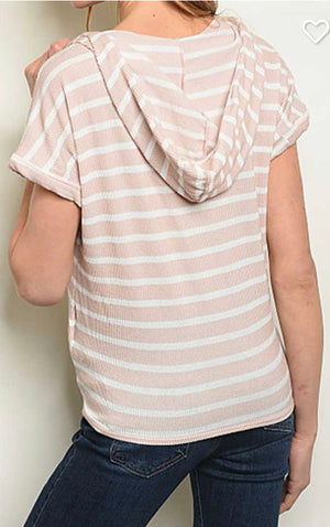 Taupe V Neck Striped Hooded Top