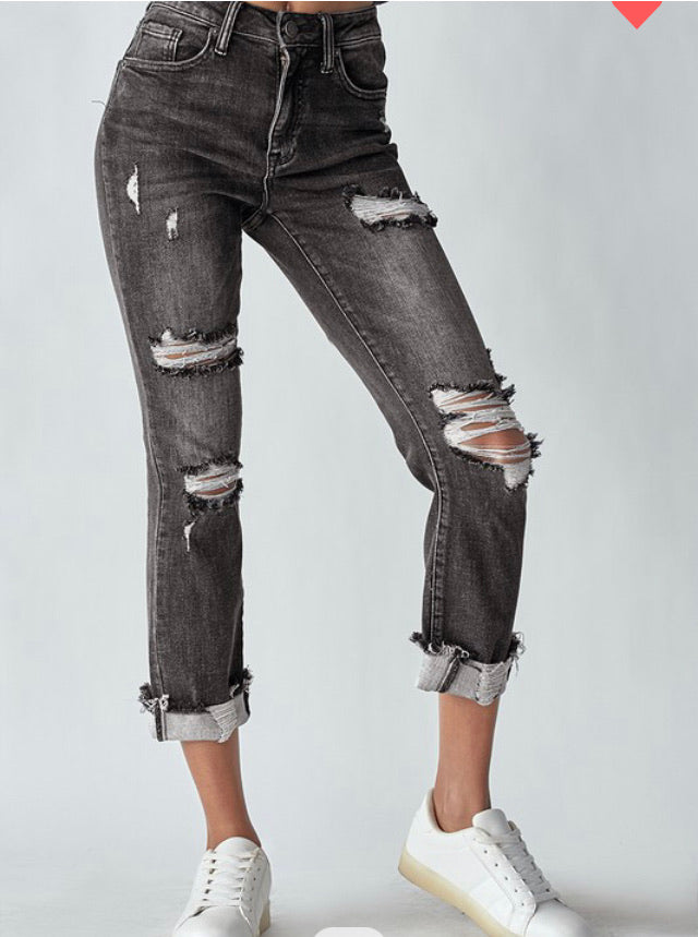 """Molly"" Risen Charcoal Washed Jean"