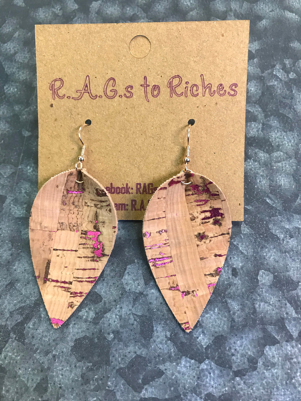 Cork With a Hint of Pink Earrings