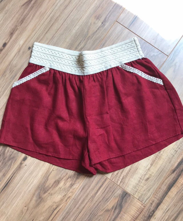 Red and Cream Detail Shorts