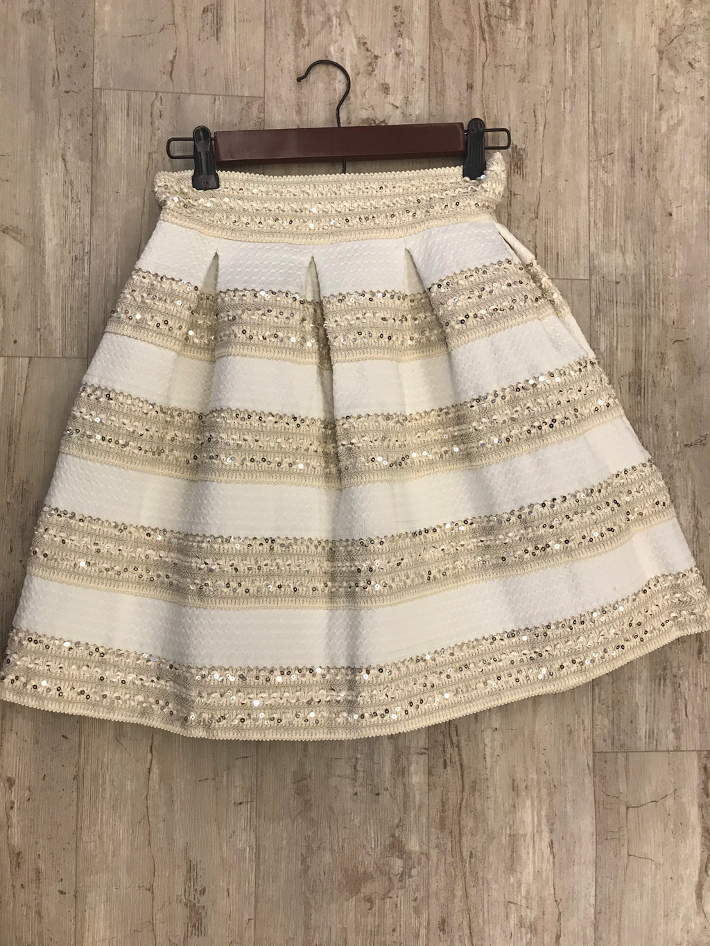 Cream Sparkle Box Skirt