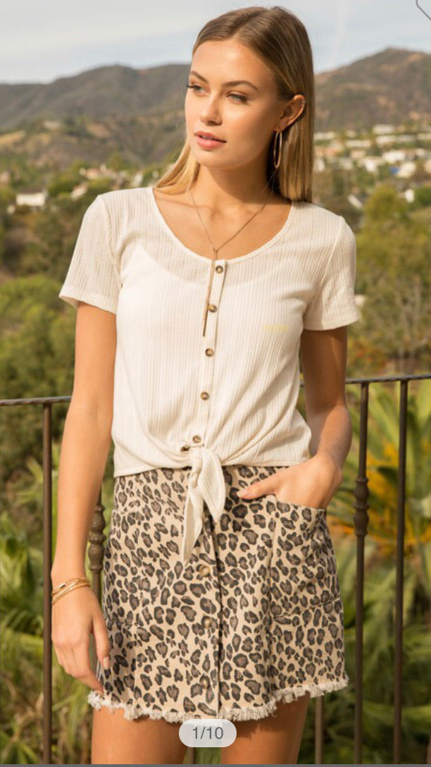 Tie Front Button Down Crop Top