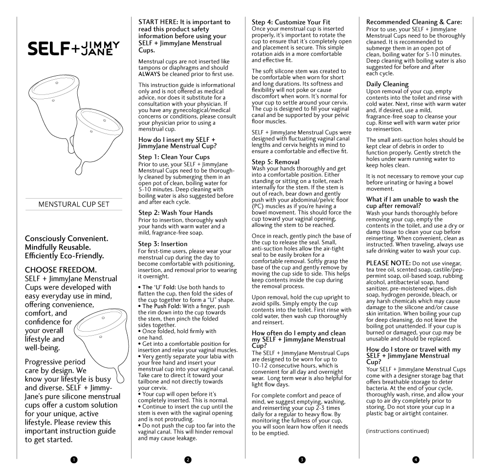 Front side of manual instructions for SELF + JimmyJane Menstrual Cup Set