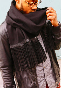 Leather Fringe Scarf