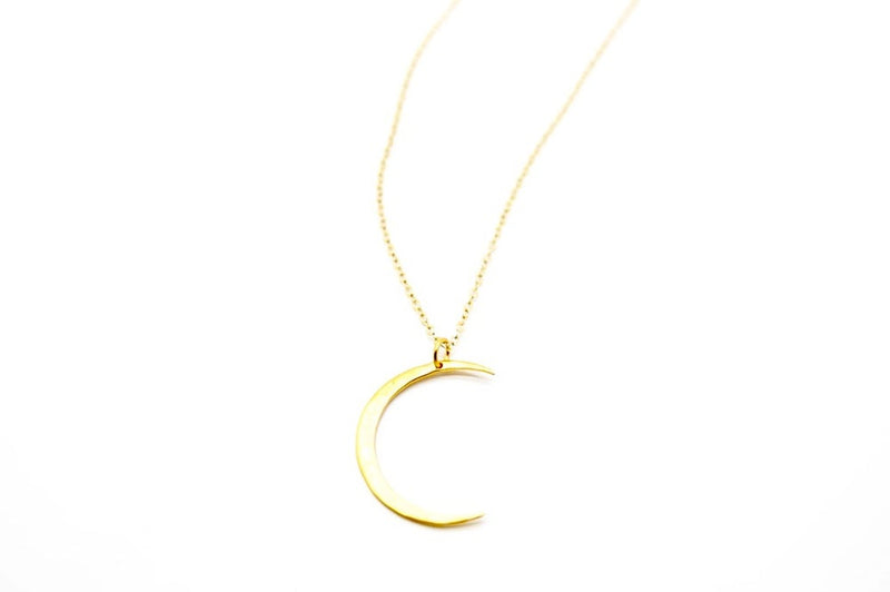 Large Hammered Crescent Moon Necklace