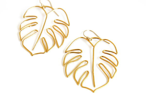 Monstera Statement Earrings