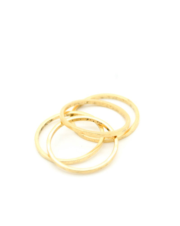 Thin Hammered Antique Gold Ring