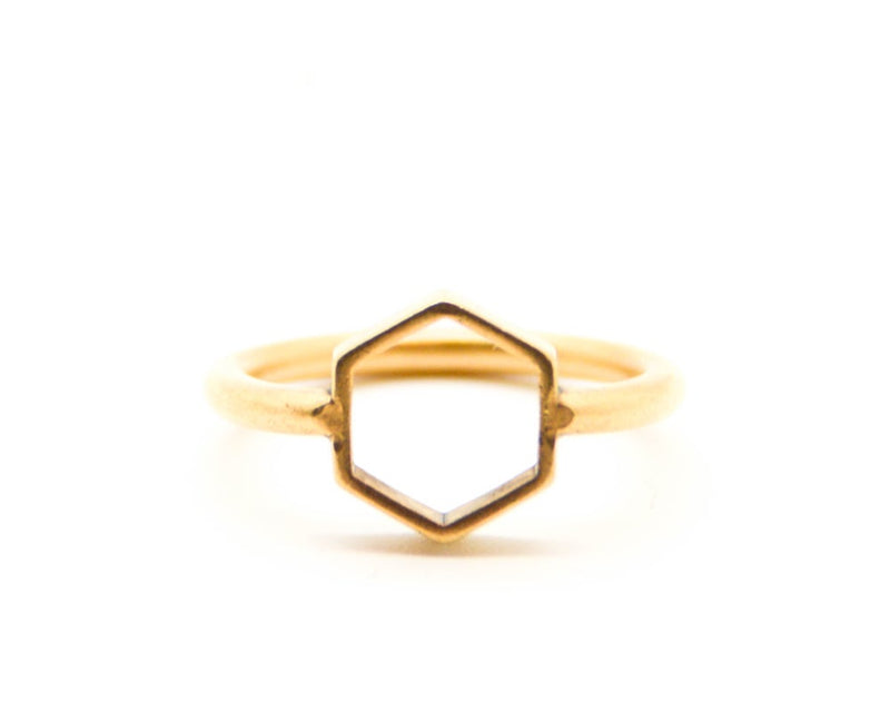 Open Frame Hexagon Ring