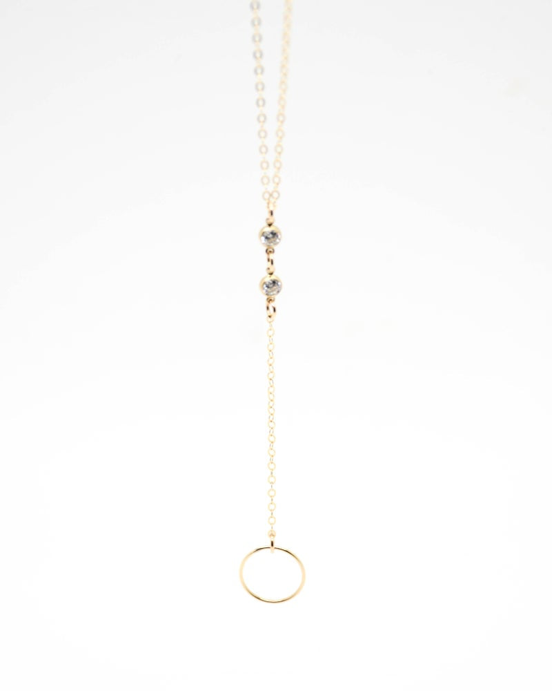 Sparkly Circle Lariat Necklace