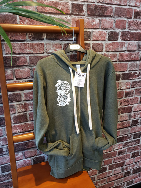 "Palm Tees ""Wildflower"" Zip-Up Hoodie - Army (Assorted Designs)"