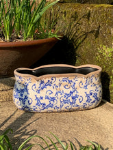 Load image into Gallery viewer, Large Scallop Edged Ceramic Planter in Blue