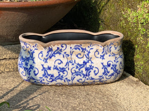 Large Scallop Edged Ceramic Planter in Blue