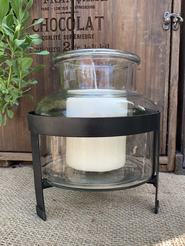Belgo Jar Lantern On Metal Stand - Abigailshome