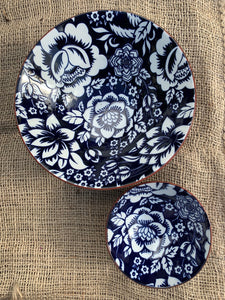 Blue and White Flower Pattern Ceramic Bowl - Large - Abigailshome