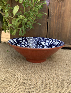 Blue and White Flower Pattern Ceramic Bowl - Medium - Abigailshome