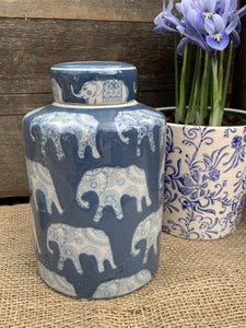 Blue Elephant Ceramic Ginger Jar - Abigailshome