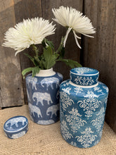 Load image into Gallery viewer, Blue Elephant Ceramic Ginger Jar - Abigailshome