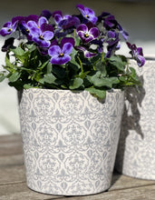 Load image into Gallery viewer, Ceramic Hand painted Floral Pots - Small Slate Grey - Abigailshome