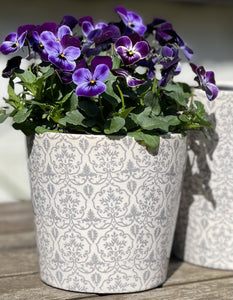 Ceramic Hand painted Floral Pots - Small Slate Grey - Abigailshome