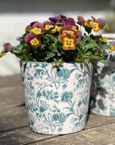 Ceramic Hand painted Floral Pots - Small Viridi Green - Abigailshome