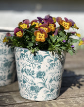 Load image into Gallery viewer, Ceramic Hand painted Floral Pots - Small Viridi Green - Abigailshome
