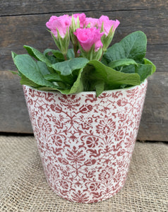 Ceramic Handpainted Floral Pots - Small red - Abigailshome