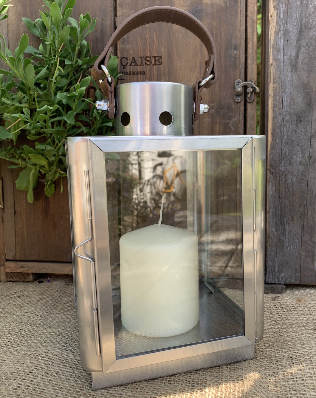 Contemporary Brushed Metal Lantern With Leather Handle - Abigailshome