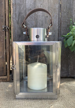 Load image into Gallery viewer, Contemporary Brushed Metal Lantern With Leather Handle - Abigailshome