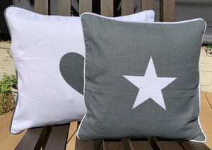 Grey Square Cushion With White Star - Abigailshome