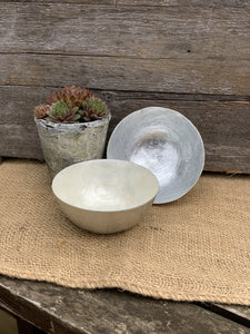 Hand Painted Capiz Shell Bowl - Cream And Silver - Abigailshome