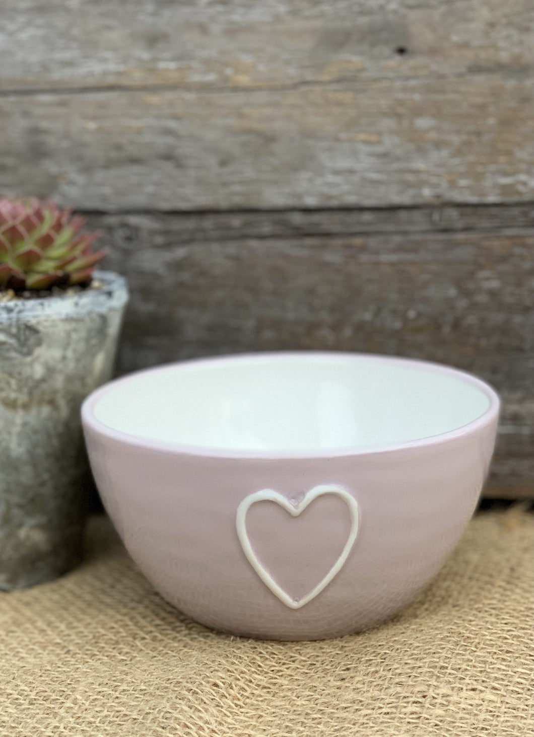 Hand Painted Pink Heart Earthenware Bowl - Abigailshome
