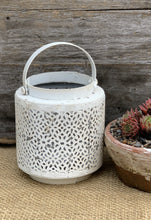 Load image into Gallery viewer, Jali Ivory Metal Lantern - Filagree Pattern - Abigailshome