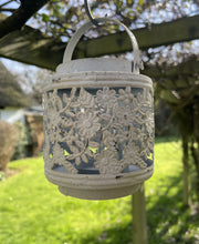Load image into Gallery viewer, Jali Ivory Metal Lantern - Flower Pattern - Abigailshome