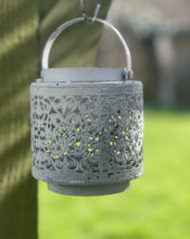 Load image into Gallery viewer, Jali Ivory Metal Lantern - Hearts And Swirls - Abigailshome