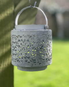 Jali Ivory Metal Lantern - Hearts And Swirls - Abigailshome