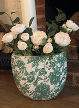 Load image into Gallery viewer, Large Ceramic Green and White Flower Vase - Abigailshome