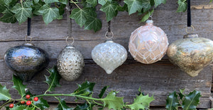 Luxury Glass Drop Bauble - Smoked Silver - Abigailshome