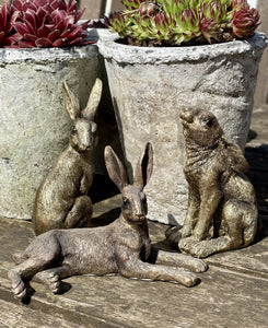 Mini Golden Hares - Set Of 3 - Abigailshome