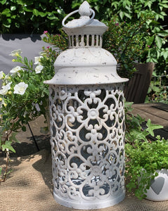 Nettuno White Metal Lantern - Medium - Abigailshome