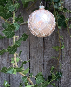 Pink Embossed Glass Bauble - Abigailshome