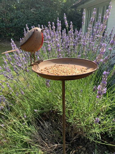 Rustic Metal Bird Feeder With Robin - Abigailshome